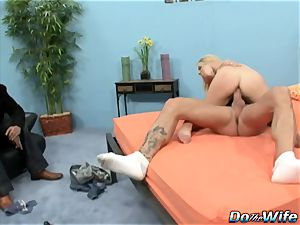 blond wife deepthroats giant man-meat into her jaws and puss