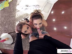 Abigail Mac and Jessica get pounded in many postures