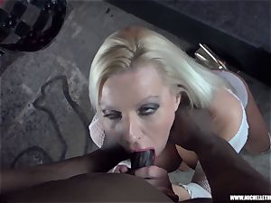 sloppy platinum-blonde honey gargles hooter jacks penetrates ample black salami
