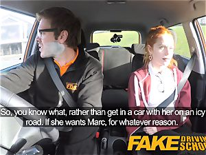 faux Driving college lovely red-haired Ella Hughes smashes