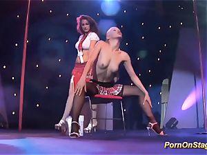 lezzie pornshow on public stage