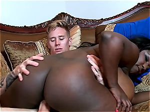 yam-sized booty ebony hoe inhaling milk milky dick
