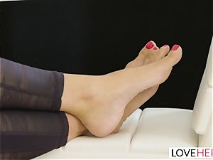 LoveHerFeet - Stepson drills His Stepmom On The couch
