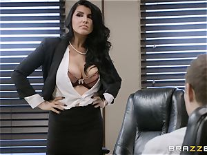 nasty brown-haired Romi Rain boinked in her cock-squeezing coochie