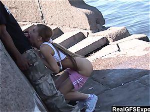 Russian blondie Olga meets big black cock while jogging