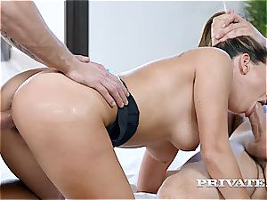 pliable nubile Ally Breelsen enjoys Yoga and double penetration