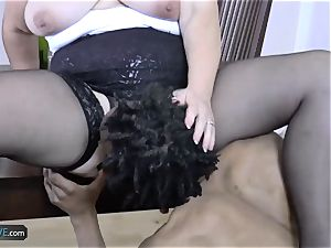 AGEDLOVE grandma plump Lacey Starr encountered her pals