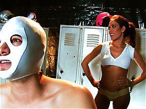 big-boobed brown-haired Capri pokes an aspiring luchador