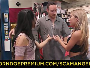 SCAM ANGELS - Blackmail threesome sex with insane babes