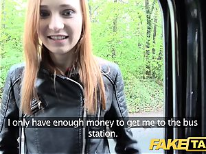 faux taxi slim ginger-haired enjoys raunchy hook-up