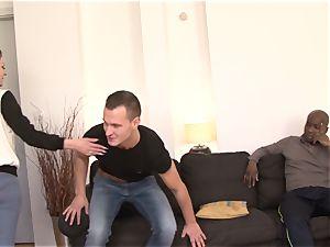 husband Shares pinkish lingerie wife with ebony dude