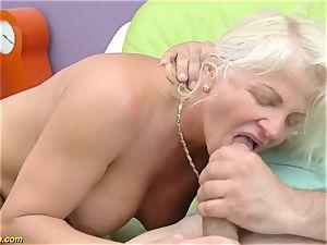 fabulous 73 years elder mommy very first hefty fuck-stick buttfuck drill