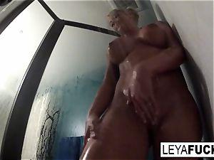 steamy enormous tit blonde takes a douche