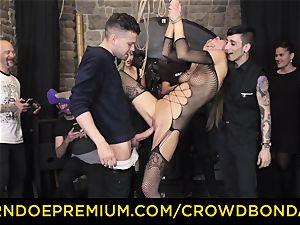 CROWD restrain bondage - extreme domination & submission pummel wheel with Tina Kay