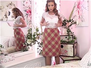 beautiful school instructor unwraps off and jack in nylons