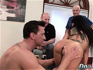 wondrous wifey Takes It Up the backside While hubby Looks On