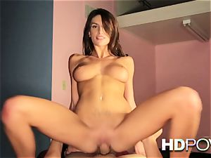 HD point of view red-hot dark-haired with giant tits likes to juggle trouser snake