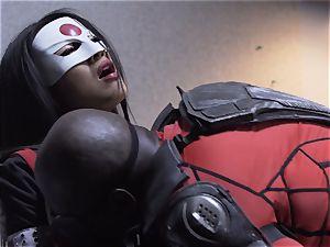 Suicide team parody Sn 4 Ada Akira riding dark-hued hard-on