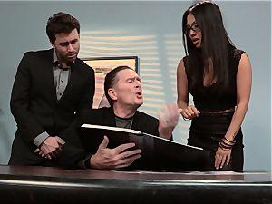 Asa Akira pokes fleshy cock over the office desk