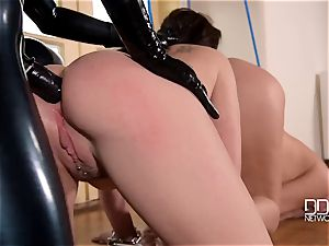 latex headmistress latex Lucy punishes her slave's cabooses