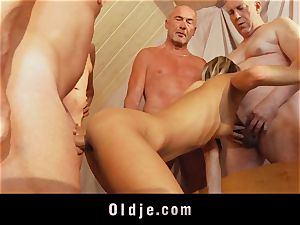 senior school group penetrate featuring lean young blonde