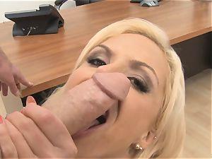 cool secretary Nina Elle inhales trouser snake in the office
