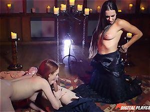 jizz gulping three way with sumptuous Ella Hughes and sexy honey Mea Melone