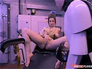 Stella Cox vulva bashed by a space agent