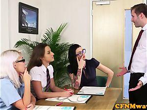 CFNM office honeys deep throating coworkers weenie