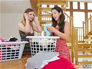 gash rubbing ultra-cute Eva Lovia and Stella Cox messing in the laundry