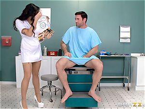 nuts busting nurse Karlee Grey jerks rod with ease