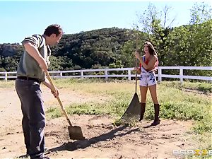 August Ames gets her mammories creamed outdoors