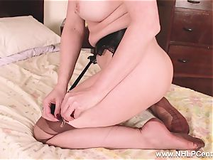 sizzling milf fake penises plaything to ejaculation in tights suspenders