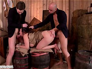 plump japanese gets dual pummeled in the barn
