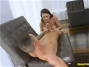 jizzing on the face of Ivy Rose after a rock-hard honeypot thrashing